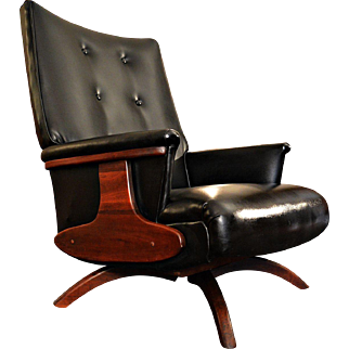 Mid Century Wood Trim Low Profile Swivel Lounge Chair