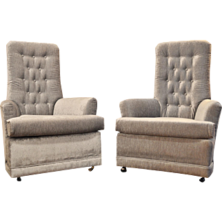 CLEARANCE Pair of Mid-Century Modern Velvet Tufted High-Back Chairs