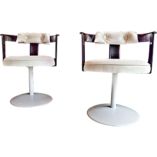 Pair of Mid Century Daystrom Purple Lucite Tulip Swivel Chairs