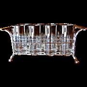 Mid Century Dorothy Thorpe Silver Fade Glassware / Barware Set in Holder