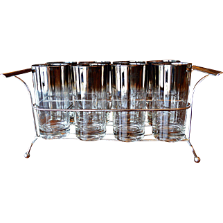 Mid Century Dorothy Thorpe Silver Fade Glassware / Barware Set in Holder