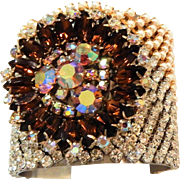 Stunning. Amber Color Stones, Clear Rhinestones and Simulated Seed Pearls Cuff Style Bracelet.