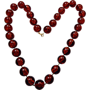 Amber Colored Beaded Necklace,
