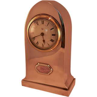 English Sterling Desk Clock with Guilloche Enamel Circa 1904