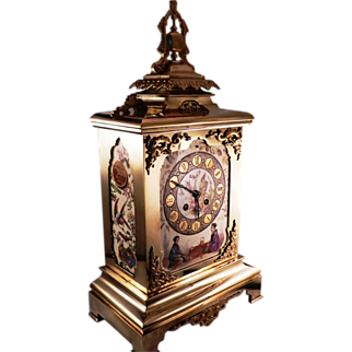 19th Century Polished Bronze French Clock with Porcelain panels in Japanese style