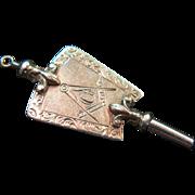 14kt antique Masonic watch key