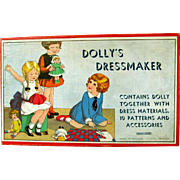 CHRISTMAS PRESENT? COMPLETE, UNUSED, Dolly Dressmaker in Boxed Set; Celluloid Dolly, 10 Unopened Patterns in Envelope, Fabric, Thread, Thimble and Trim