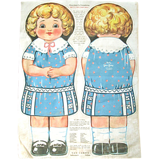 """BETTY VAN CAMP Doll """"Little Billy's Playmate"""" from the Van Camps Book for Children; Van Camps Advertising Cloth Doll; Uncut; Directions and Product Explanation"""