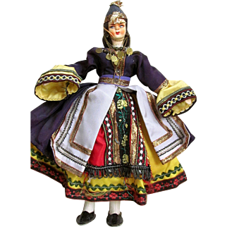 EASTERN EUROPEAN or AFGHANISTAN/TURKEY Ethnic National Costume Wire and Wood Frame Doll with Papier Mache Head and Painted Features; Traditionally Dressed