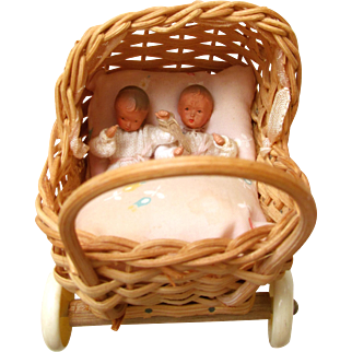 Antique Teeny Baby Girl TWINS in a WICKER CARRIAGE with Celuloid Wheels; German B. SHACKMAN- FLEXIBLE by CACO - Tagged New York