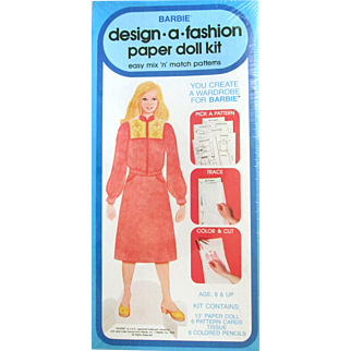 Earliest Vintage BARBIE Design a Fashion Paper Doll Kit; Mint Unopened in Plastic; Whitman/Mattel 1979