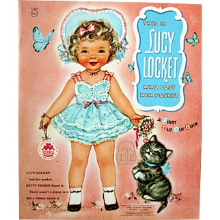"""Vintage  Merrill 1956 LUCY LOCKET - KITTY FISHER Mint Paper Dolls """"First Cut Out Book"""""""