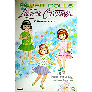 Paper Dolls with LACE-ON Costumes: 3 Standing Dolls and 58 Push-Out Costume Pieces. Saalfield Earliest Version 1979