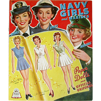 Vintage 1943 Merrill Publishing NAVY GIRLS and MARINES; 8 Pages of Costumes Front and Back with Their Official Uniforms