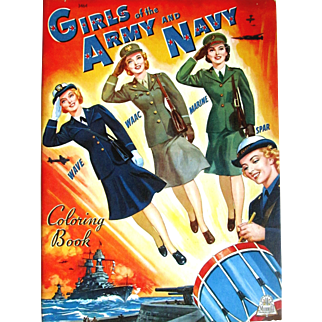 Vintage 1943 MERRILL GIRLS of the ARMY and NAVY Coloring Book; Coordinating Book to the Merrill Paper Doll Book; 47 Pages to Color