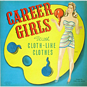 CAREER GIRLS Vintage 973 Whitman 1944 Paper Dolls Designed by Doris Butler; Fuzzy Cloth-Like Clothes. Large Size