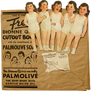 Free PALMOLIVE Soap Give-Away DIONNE QUINTS Paper Dolls with Lots of Clothes. Original Mailing Envelope