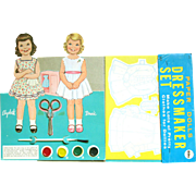 Vintage DRESS MAKER Paint by Number Set with Two Cardboard Paper Dolls, Costumes, Paint, Brush and Scissors; Near Mint, LOWE Publishing 1950's
