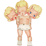 Three Faced - Cry, Sleep, Smile - Grommet Jointed Paper Doll; Heavy Cardboard