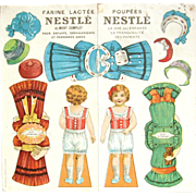 Antique FRENCH VERSION Nestle ADVERTISING Paper Dolls; Back and Front, 1860's Swiss Trade Sheet