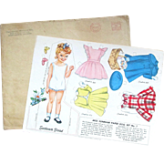 TWO SETS, Color and Black/White; MISS SUNBEAM BREAD Advertising Sheets 1949: Simplicity Patterns Advertising. Original Mailing Envelope Dated Dec. 9 '49 for 3 Cents