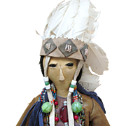 All Leather OOAK American Indian Doll Covered in Beads and Feathers with Glass Bead Eyes