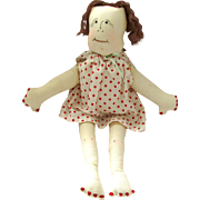 CLOTH HAND MADE SIGNED N. Carolina Doll; Red Polka Dot Dress with Hand Painted Features