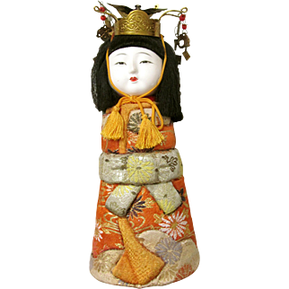 Japanese Flat Bottom Doll with Gofun Face, Tapestry Obe Costume, and Metal Head Piece
