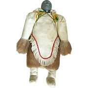 SALE 75% OFF Cream All-Leather Eskimo Doll with a Carved Soapstone Head and Hand Embroidered Costume - Red Tag Sale Item