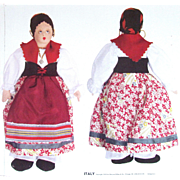 1939 LITHO PRINTED On Cloth CUT SEW STUFF Italy Doll - New Front Back 1 Of 15
