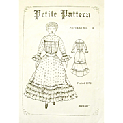 "Vintage China or Cloth Doll 1872 Style Clothing Pattern; Unused/Uncut for 22"" Doll: PETITE PATTERN"