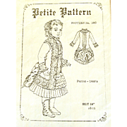"Vintage French Bru/German Porcelain Doll 1880's Style Clothing Pattern; Unused/Uncut for 18"" Doll: PETITE PATTERN"