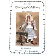 "30% OFF Vintage YESTERYEAR'S PATTERNS; Pattern Unused and Uncut; Dress, Bonnet, and Slip for French or German Doll 23-24"", 1889-1890."