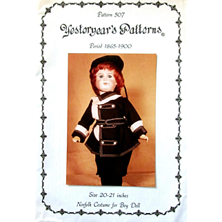YESTERYEARS Patterns 507 Size 20-21 Norfolk Costume for BOY Doll; Hat, Jacket, Pants; Period 1865 to 1900