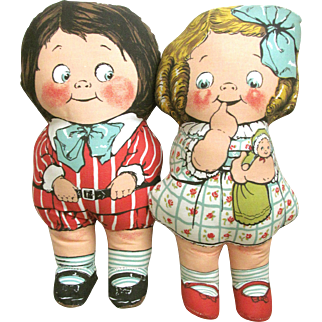 DEANS's Ragland Rag Knock About DOLLY DINGLE PAIR Mint Condition 15 Inches Tall