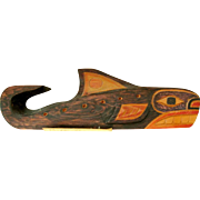 50% OFF SH-YA-DA; ESKIMO BIG MOUNTAIN Hand Carved & Painted Birch Whale Signed RD; Richard Dick  Alaska Tlingit Indian, Purchased 1975, Skagway, Alaska