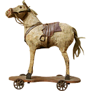 35% OFF Antique Victorian Handmade Patented Horse Pull Toy with Saddle 4 Steel Wheels All Original