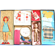 "STITCHCRAFT Similar to Dolly's Dressmaker US Version; Concord Toys #204, Boxed Set with Compo Doll, Embroidery, Patterns, Dresses, Scissors, Complete; Includes Paper Doll ""Sue"". Probably 1930-1940's"