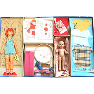 """Christmas Present? STITCHCRAFT Similar to Dolly's Dressmaker US Version; Concord Toys #204, Boxed Set with Compo Doll, Embroidery, Patterns, Dresses, Scissors, Complete; Includes Paper Doll """"Sue"""". Probably 1930-1940's"""