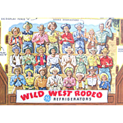 "Advertising Wild West RODEO MINT Condition 15"" by 16""; Advertising 25 Years 1927 to 1952 General Electric Refrigerators; 4 Huge Punch-Out Sheets 65 Pieces with Front and Back Figures"