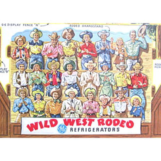 """Christmas Present? Advertising Wild West RODEO MINT Condition 15"""" by 16""""; Advertising 25 Years 1927 to 1952 General Electric Refrigerators; 4 Huge Punch-Out Sheets 65 Pieces with Front and Back Figures"""