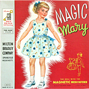 50% OFF - MAGIC MARY - The Doll With the Magnetic Dress Fastener; Milton Bradley #4010 1955. Cardboard Doll with Magnetic Strips on Clothes to Attach