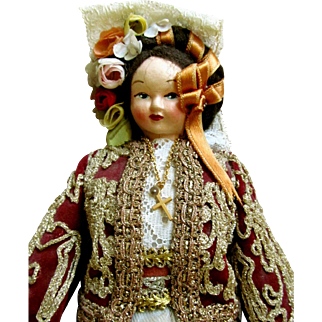 GREEK MASK FACE VINTAGE DOLL Dressed in Authentic Gold Embroidery of Byzantine Artwork; National Dress for the Locality of Corfu