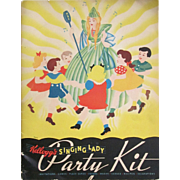 Kellogg's SINGING LADY PARTY KIT. Advertising Booklet with Original Envelope; Invitations, Masks, Place Cards, Party Favors, AND Recipes for Party Goodies