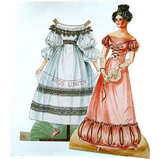 UFDC Miss Unity Paper Doll; Drawn by Peggy Jp Rosamond 1989 - Very Rigid Paper Doll with Two Costumes