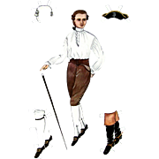 PAPER DOLLS Uncut Gentleman in 18th C. Dress as Worn in Williamsburg in Colonial Days; Uncut Williamsburg Restoration 1939 Reproductions