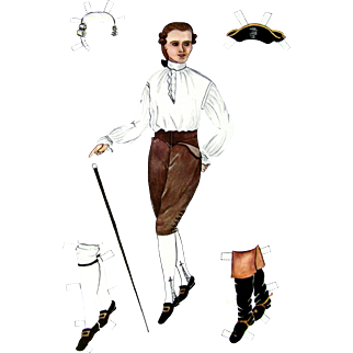 PAPER DOLLS Gentleman in 18th C. Dress as Worn in Williamsburg in Colonial Days; Williamsburg Restoration 1939 Reproductions