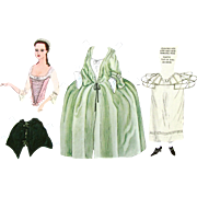 PAPER DOLLS  Uncut Lady in 18th Century Dress as Worn in Williamsburg in Colonial Days; Uncut Williamsburg Restoration 1939 Reproductions