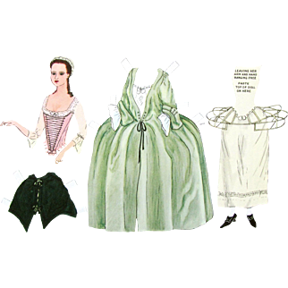PAPER DOLLS  Lady in 18th Century Dress as Worn in Williamsburg in Colonial Days; Williamsburg Restoration 1939 Reproductions