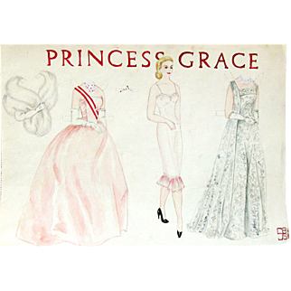PRINCESS GRACE -SB Sirkis - Hand Drawn Original Paper Doll 1963 by SBS; Believed to be Early Susan Bonsall Sirkis of the Wish List Booklets